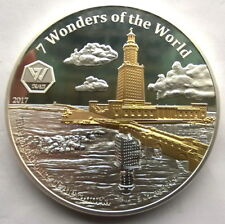 Ghana 2017 Lighthouse of Alexandra 5oz Gold Plated Silver Coin,Proof