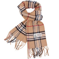 Plaid Cashmere Feel Classic Soft Luxurious Winter Scarf For Men Women Camel
