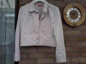 Biker style pink denim jacket  size 16 by alain manoukian.