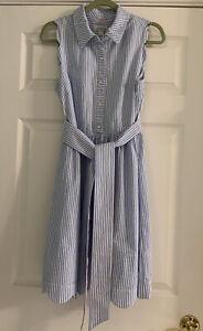 vineyard vines kentucky derby dress size 10 blue seersucker never worn!