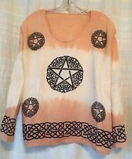 Womens Long Sleeve Top Batik Tie Dye Orange Pentacle Wiccan Celtic Festival Boho