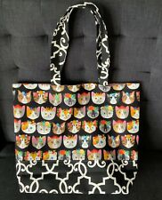 NEW Large Cotton Shopping Shoulder Tote Bag Handmade Lined Awesome Cats Pattern