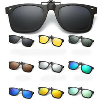 Men Polarized Driving Clip-on Night Vision Sunglasses Flip-up Lens Glasses UV400