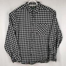 Woolrich Large Shirt Black White Plaid Cotton Flannel L/S Pocket Button Down