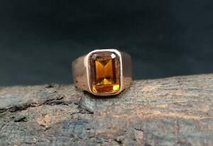 Citrine Ring 925 Solid Sterling Silver Ring Orange Citrine Quartz Gemstone Ring