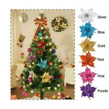 10Pcs Artificial Glitter Flowers Xmas Tree Decorations Wedding Christmas Party