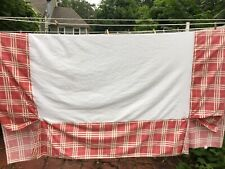 Collier Campbell BEDSKIRT Queen Size Cotton Bedding Red Check 1990s Vtg