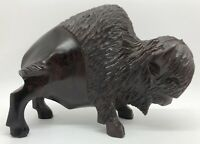 """IRONWOOD Buffalo Bison Hand-Carved Sculpture Figurine 7""""L x 5""""H x 2-1/2""""W (RF990"""