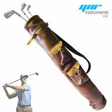 Tan Cowhide Leather Golf Club Ball Bag Two Pockets H-34 inch D-5.5inch NEW