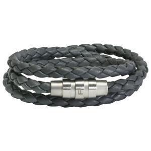 Porsche Design Bracelet Grooves Triple stainless steel leather gray 21,5 cm NEW