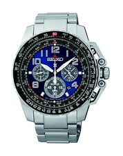 New Seiko SSC275 Sportura Solar Chronograph Stainless Blue Dial 100M Men's Watch