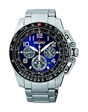 New Seiko SSC275 Sportura Solar Chronograph Stainless Blue Dial 100M Men's Watch
