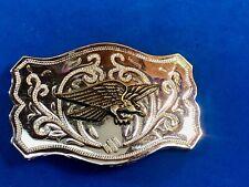 Mixed metal vintage Western flying hunting Eagle Belt Buckle