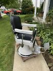 1920s Theo Koch Barber Chair  Fully Functional  New  upholstery   Nice CHROME