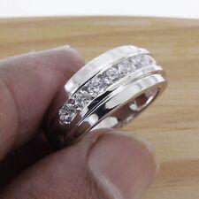 14k White Gold Over 1 Ct Men's Round Cut White Diamond Wedding Band Ring