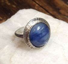 Sterling Silver 925 Blue Kyanite Gemstone Bezel handmade ring size 7 Free Ship