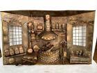 Vintage Brass Copper Tin 3D Diorama Cottage Kitchen Fireplace Wall Metal Art 3-D