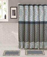 Home Bathroom Mat Rug Set with Matching Shower Curtain & Roller Hooks.