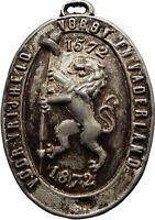1872 NETHERLANDS Antique Silver Bracteate Silver Dutch Medal Plaque LION i75344