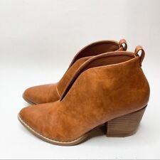 Catherine Malandrino Women's Blake Leather Cognac Ankle Booties Size 7.5