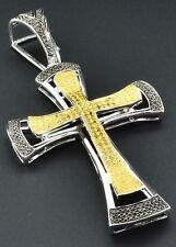 Yellow Diamond Cross Pendant 925 Sterling Silver Mens Charm