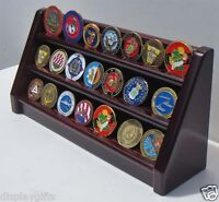 3 Tiers Challenge Coin Encapsulated Coin  Display Stand, Solid Wood, Coin18-MA