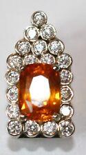 18K White Gold Diamond & 5.36ct Cushion Ceylon Orange Sapphire CUSTOM PENDANT