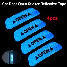 4x Super Blue Car Door Open Sticker Reflective Tape Safety Warning Decal