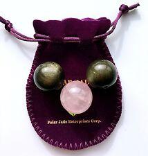 Pair of Gold Sheen Obsidian Kegel Weight Ben Wa Balls&One Spare Rose Quartz Ball