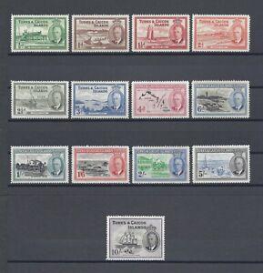 TURKS & CAICOS ISLANDS 1950 SG 221/33 MNH Cat £85