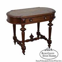 Antique Victorian Renaissance Walnut Marble Top Parlor Table w/ Drawer