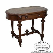 Antique Victorian Renaissance Walnut Marble Top Parlor Table w/ Drawer
