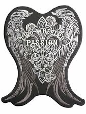 """TWO WHEEL PASSION Cross De Lis Wings Big XL Embroidered Back Jacket Patch 9.5"""""""