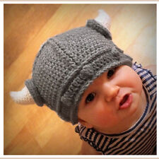 Toddler Baby Kids Viking Hat Crochet Horns Cap Knitted Beanie Costume Cute