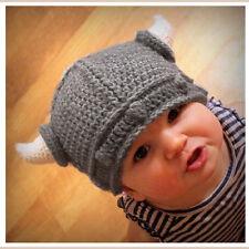 Baby Kids Bonnet Infant Handmade Crochet Hat Viking Horns Knitted Hat