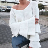 Women Bell Long Sleeve Knitted Pullover Loose V Neck Jumper Tops Blouse Sweater