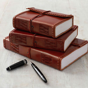 Stitched Leather Journal | 125 Unlined Recycled Paper Journal Notebook Diary