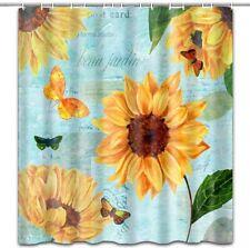 "New ListingSunflower Butterfly Shower Curtain Fabric Bathroom Decor with Hooks 71""x71"""
