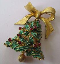 broche bijou vintage  couleur or noeud  cloche mobile cristal houx 587