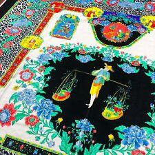 "GIANNI VERSACE velvet fabric panel The Chinese Gardener print black 55"""
