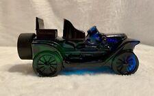 Vintage Avon Stanley Steamer Car After Shave Bottle Blue Glass Collector Car Euc
