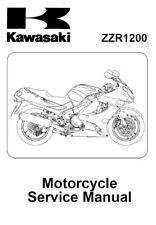 Kawasaki Ninja ZZR1200 ZX1200 ZX12 2002 2003 2004 2005 service manual on CD
