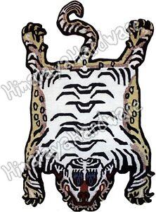 Wool Tibetan Tiger Rug Carpet Cutout white pelt skin stripe orange Tibet Nepal