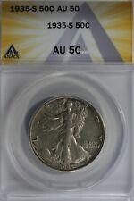 1935-S  50C ANACS AU50  Walking Liberty, Lady Liberty Half, 0.50