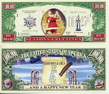 Santa LIST Merry Christmas Dollar Bill Funny Money Novelty Note with FREE SLEEVE