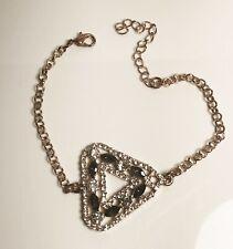 "Deja Vu Women's Bracelet with Triangle inset on Gold Tone Chain 71/2"""
