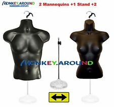 2 Mannequin 1 Stand 2 Hanger Male Female Black Dress Torso Form Display Clothing