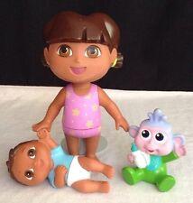 "Dora The Explorer LOT Swim Doll Dora 4"" Baby Boots Twin Boy PVC Figure Water Toy"