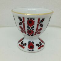 Vintage Edelstein Bavaria 137 Egg Cup Holder Made in Germany Porcelain Black Red