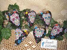 6 Fabric Sugar Skull hearts Valentine wreath-making Day of the Dead Home Decor